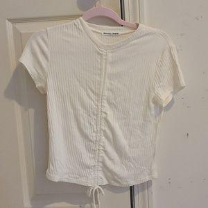 Reformation jeans ivory crop knit top L NWOT